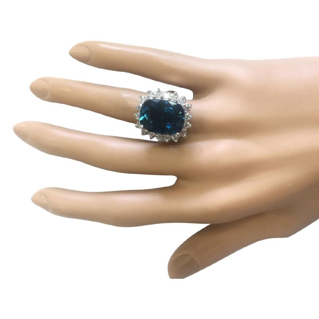 15.04 CTW Natural London Blue Topaz And Diamond Ring - 4