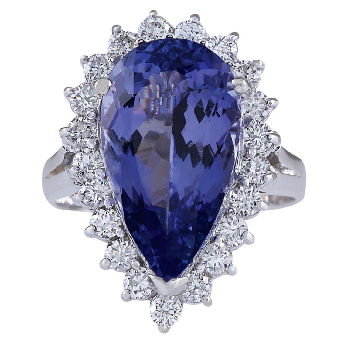 7.26CTW Natural Tanzanite And Diamond Ring In 18K White