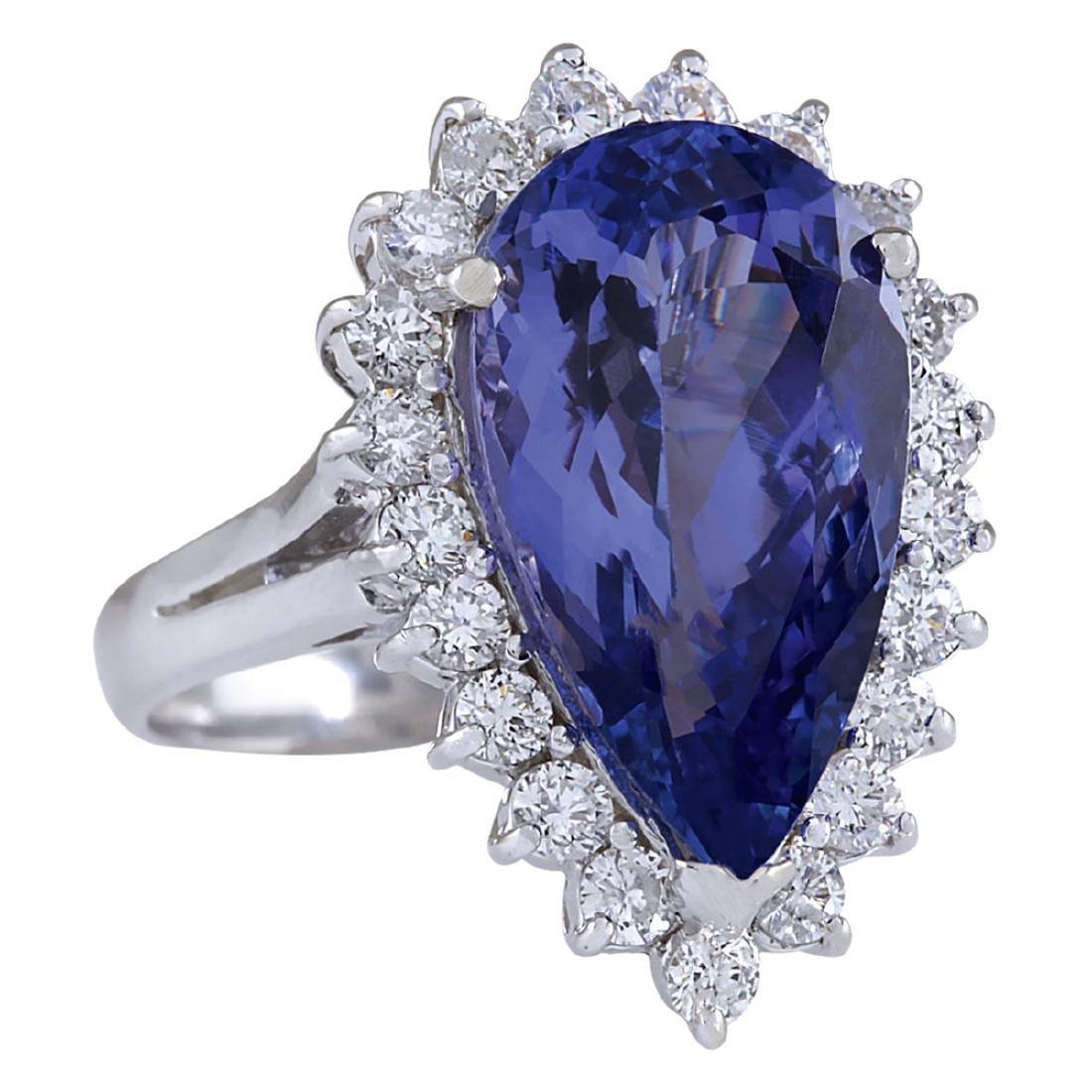 7.26CTW Natural Tanzanite And Diamond Ring In 18K White - 2
