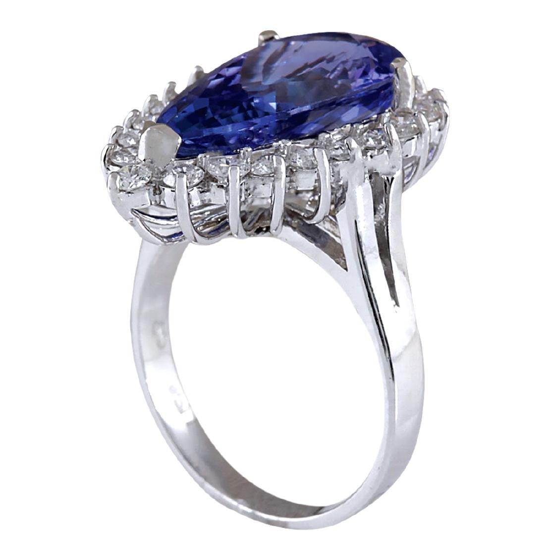 7.26CTW Natural Tanzanite And Diamond Ring In 18K White - 3