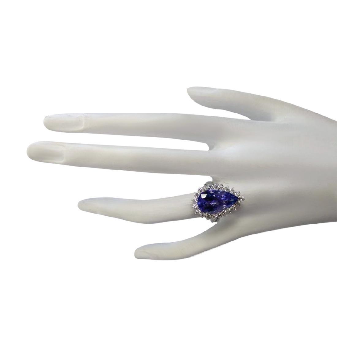 7.26CTW Natural Tanzanite And Diamond Ring In 18K White - 4