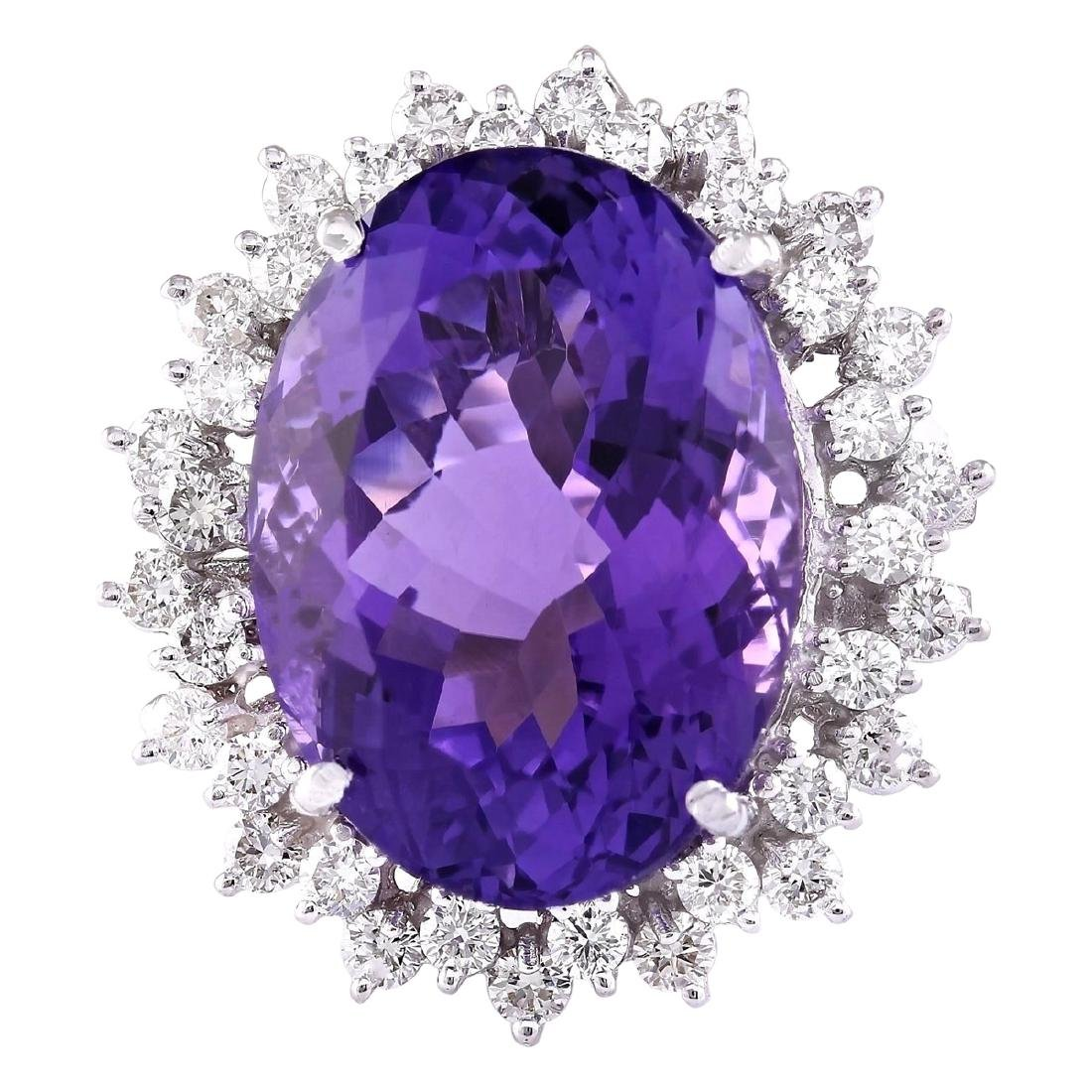 27.50 CTW Natural Amethyst And Diamond Ring In 18K