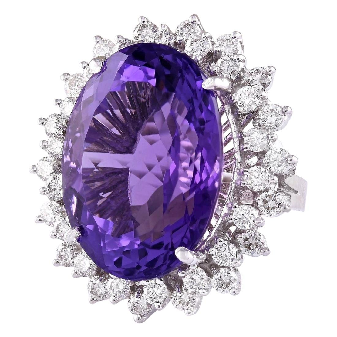 27.50 CTW Natural Amethyst And Diamond Ring In 18K - 2