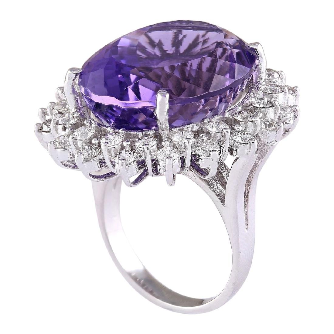 27.50 CTW Natural Amethyst And Diamond Ring In 18K - 3