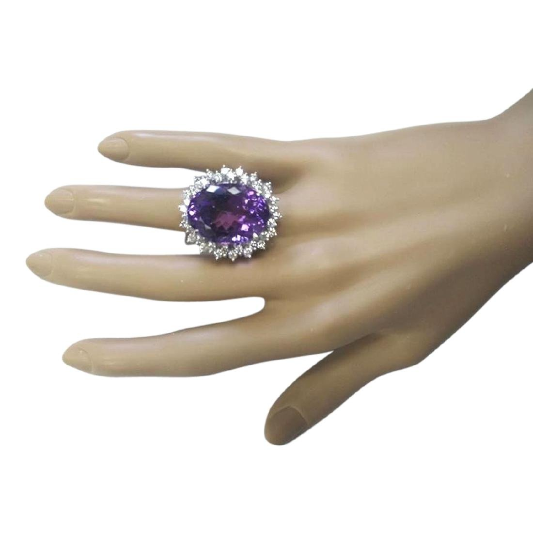 27.50 CTW Natural Amethyst And Diamond Ring In 18K - 4
