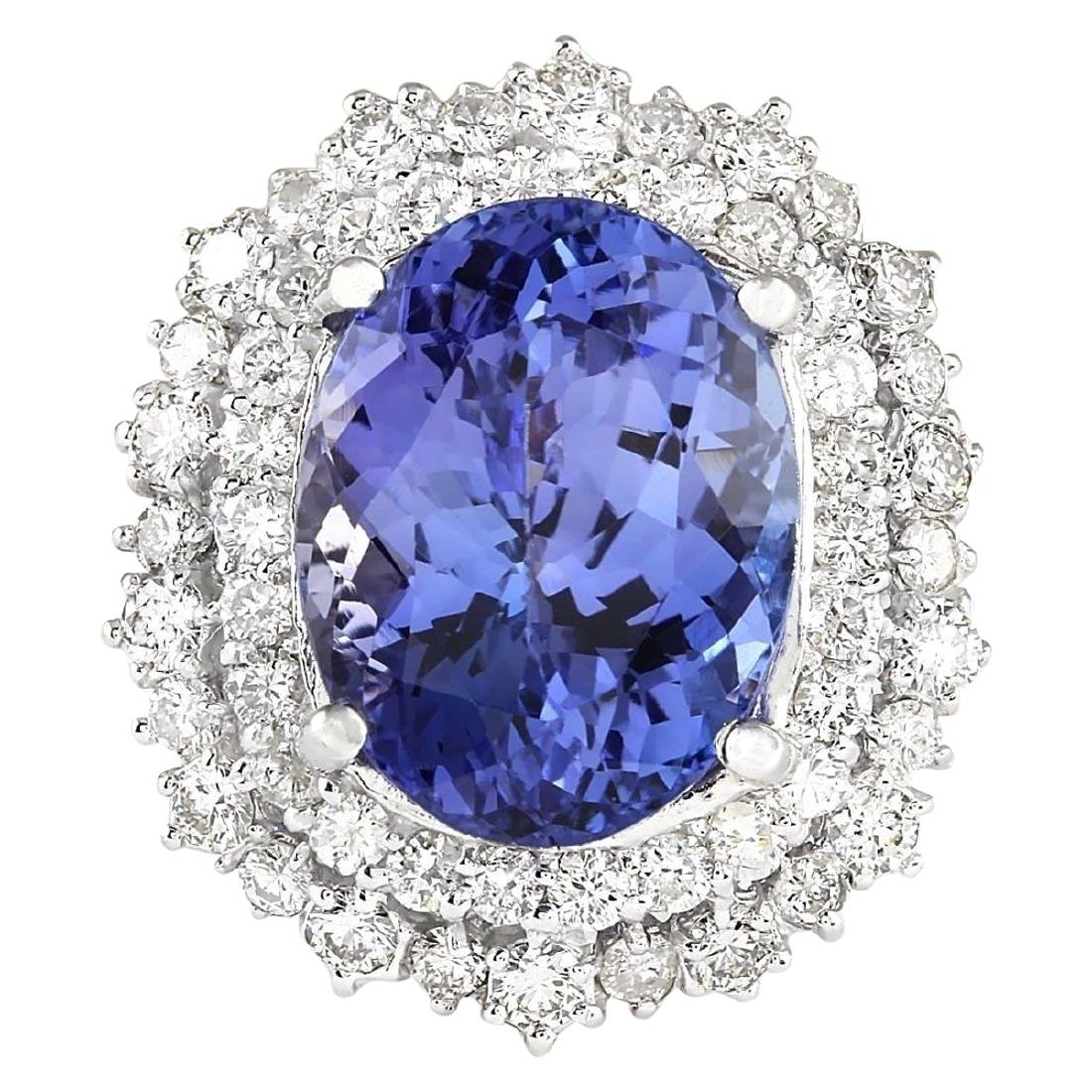 12.86 CTW Natural Blue Tanzanite And Diamond Ring 18K