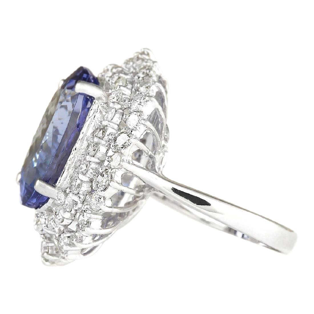 12.86 CTW Natural Blue Tanzanite And Diamond Ring 18K - 2