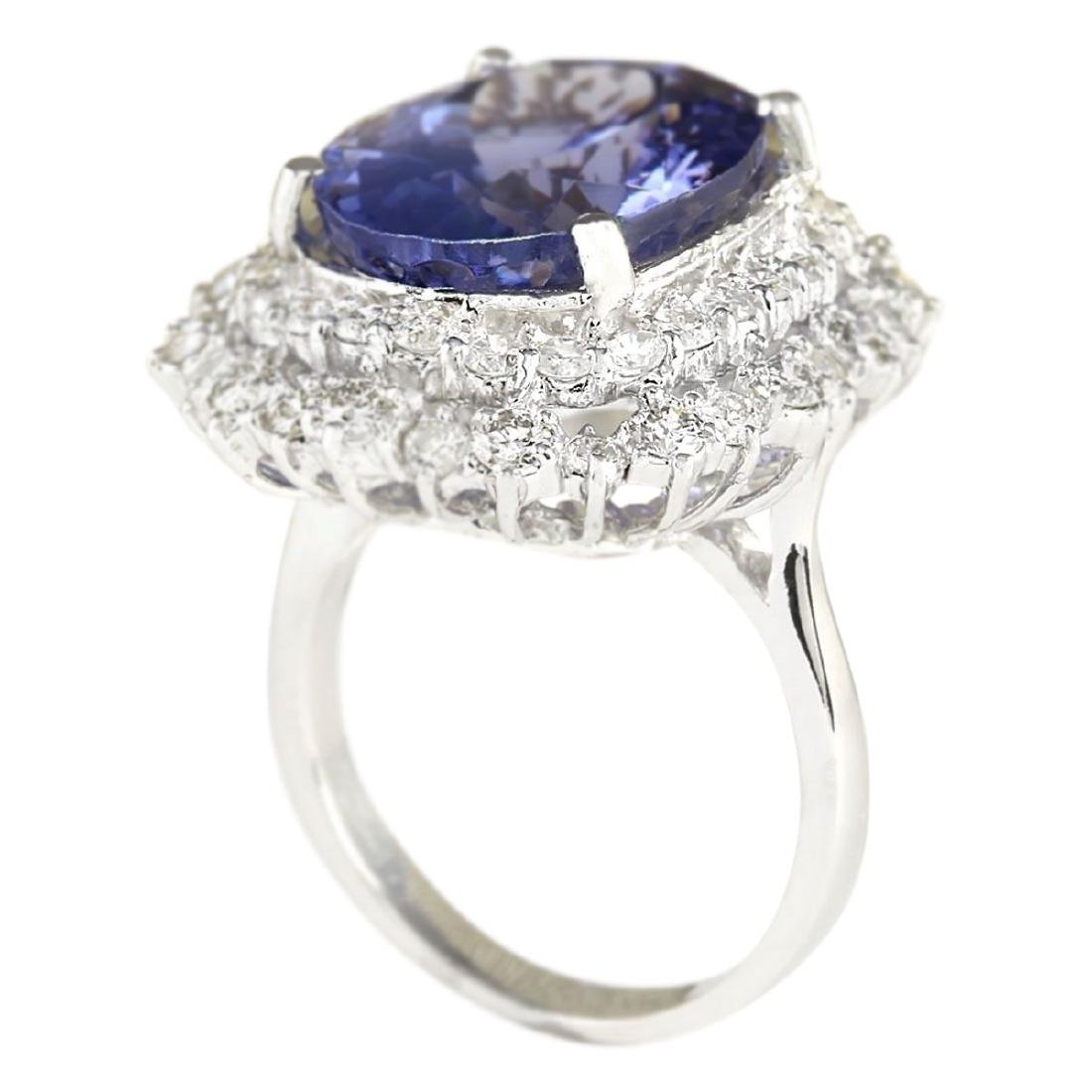 12.86 CTW Natural Blue Tanzanite And Diamond Ring 18K - 3