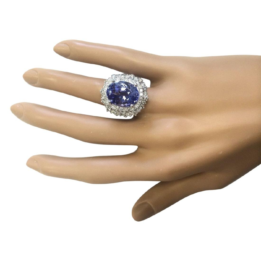 12.86 CTW Natural Blue Tanzanite And Diamond Ring 18K - 4