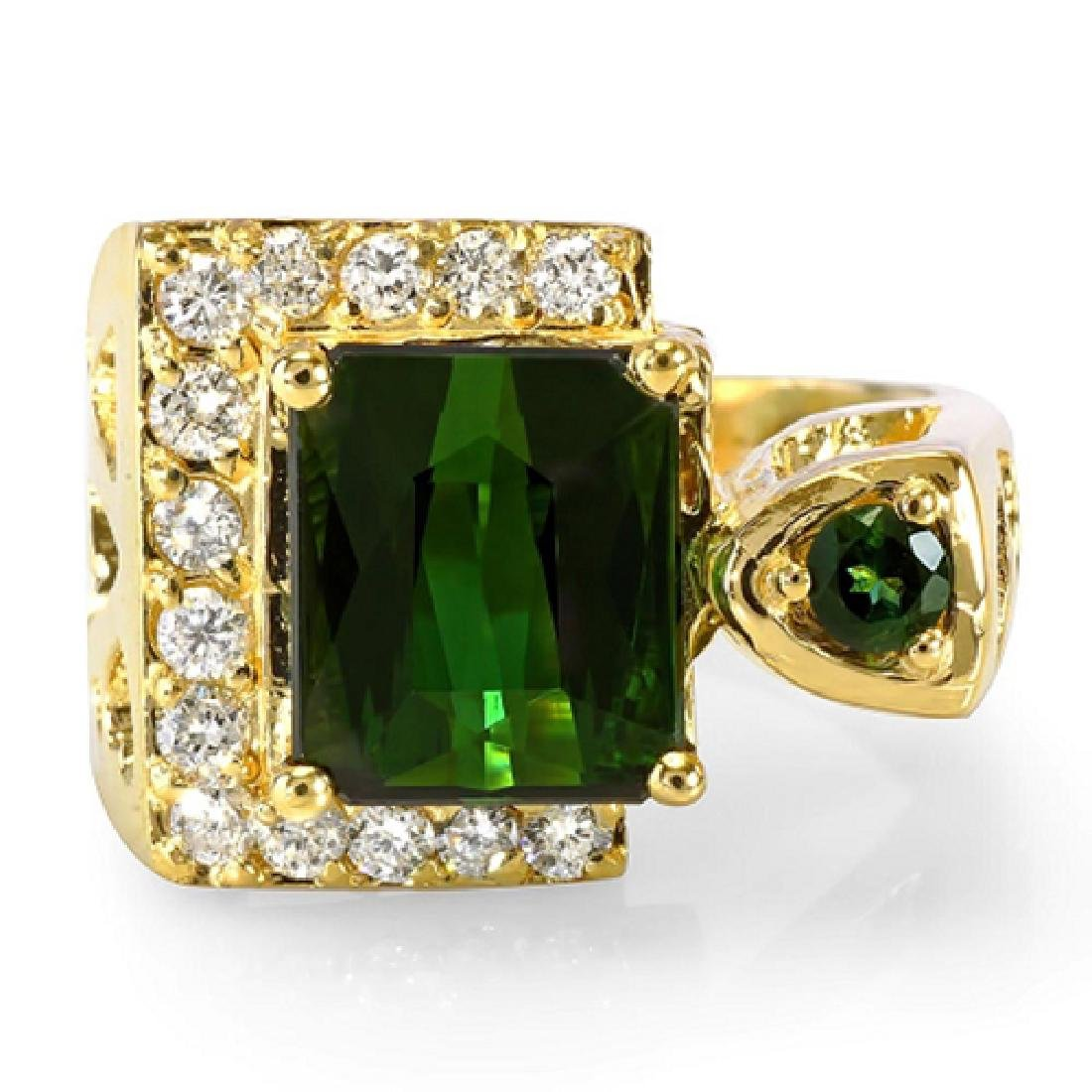 4.00 Carat Natural Tourmaline 18K Solid Yellow Gold