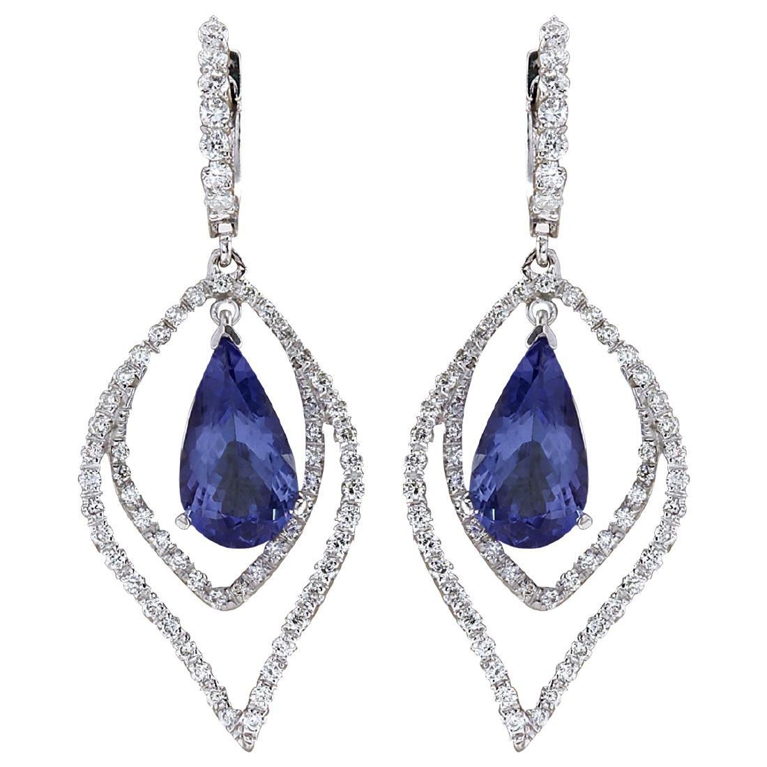 9.67CTW Natural Tanzanite And Diamond Earrings 18K