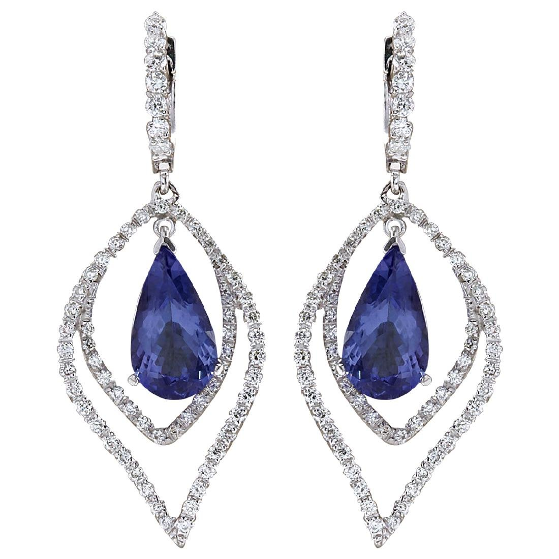 9.67CTW Natural Tanzanite And Diamond Earrings 18K
