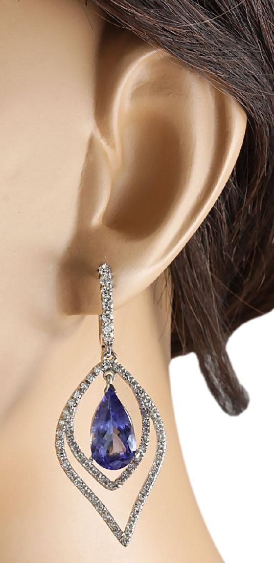 9.67CTW Natural Tanzanite And Diamond Earrings 18K - 3