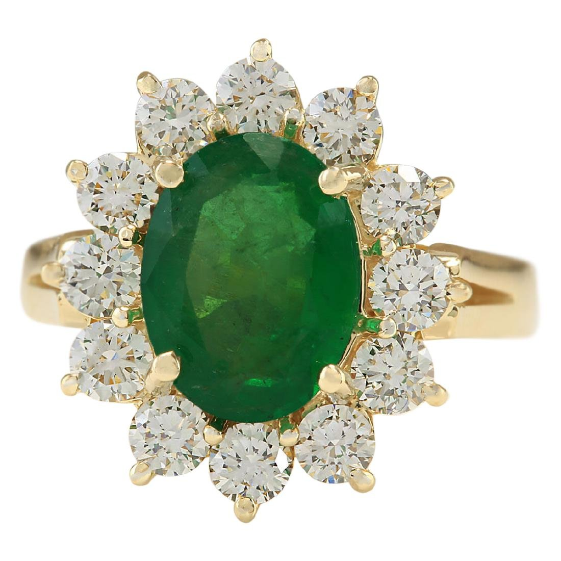 3.34 CTW Natural Emerald And Diamond Ring In 18K Yellow
