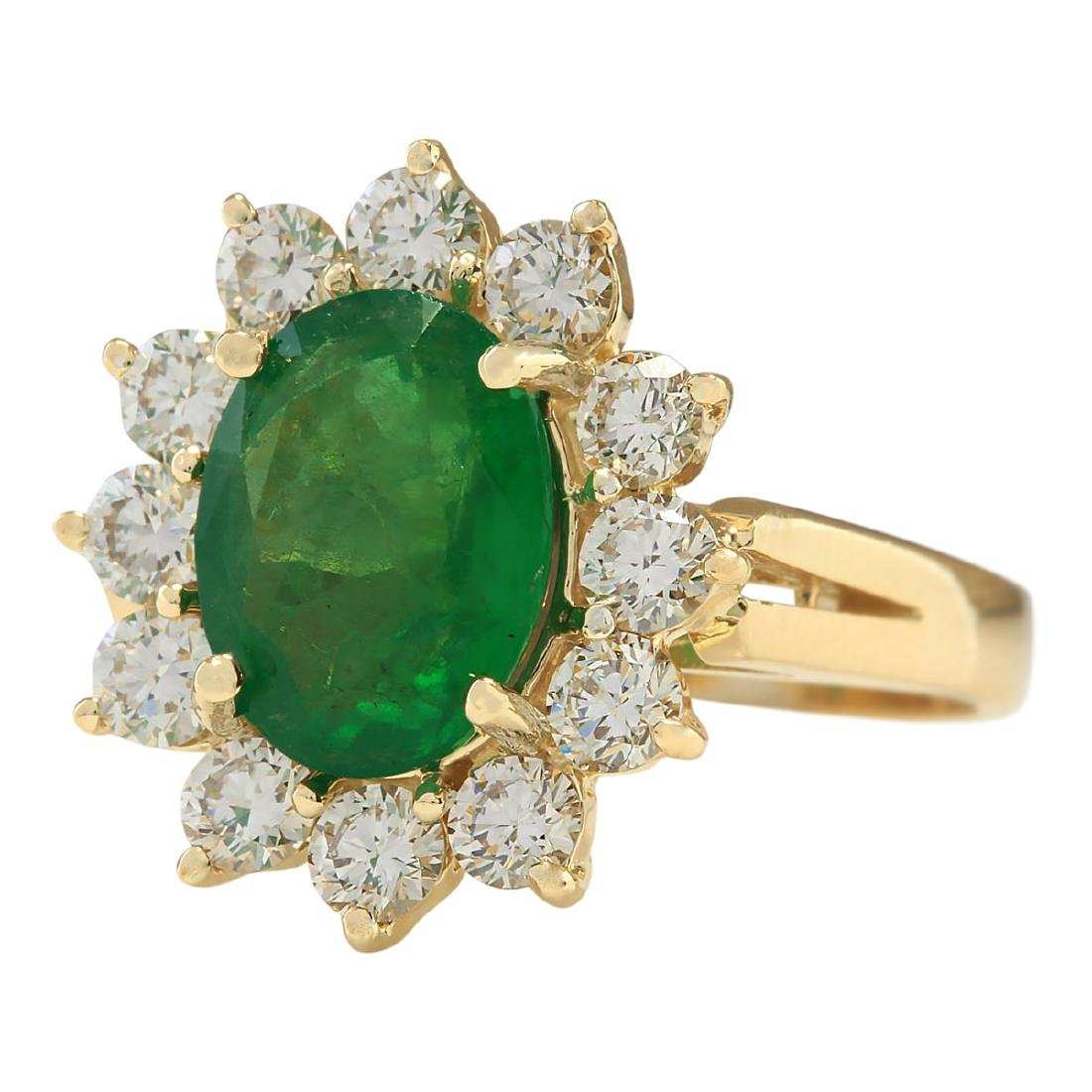 3.34 CTW Natural Emerald And Diamond Ring In 18K Yellow - 2
