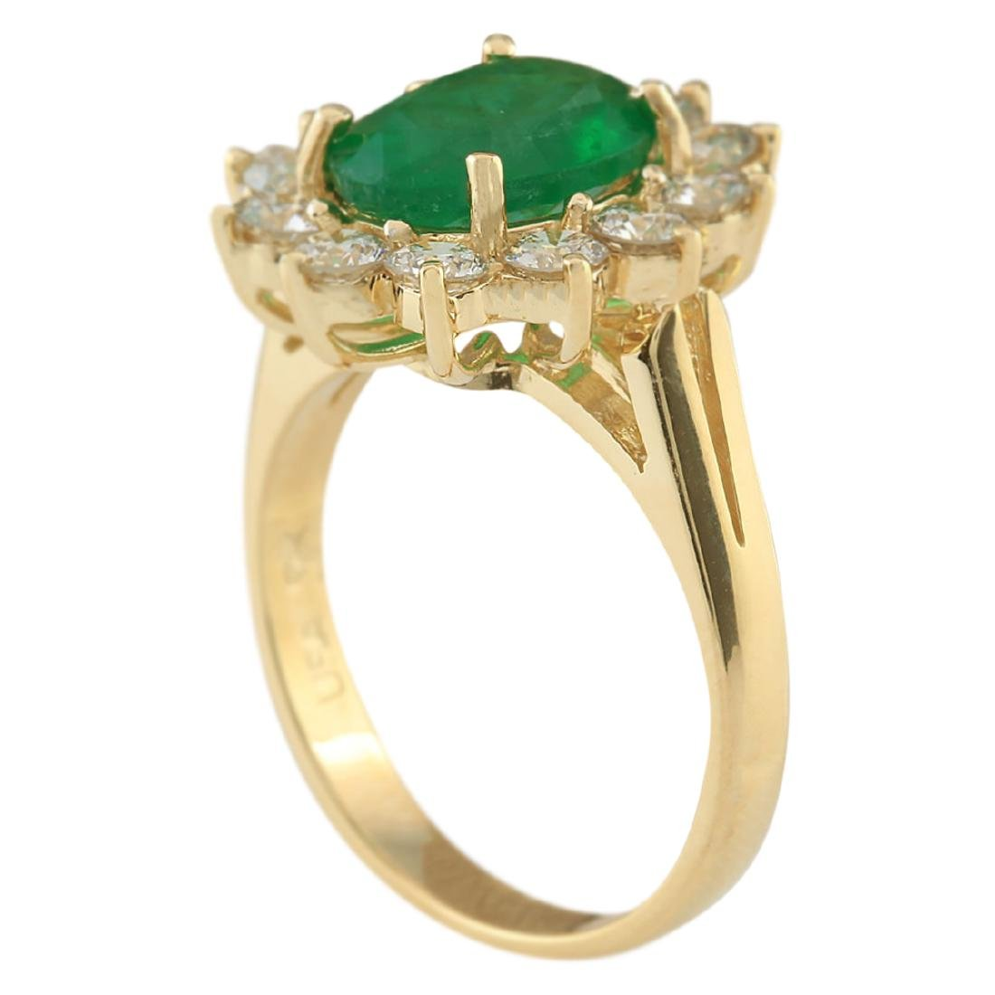 3.34 CTW Natural Emerald And Diamond Ring In 18K Yellow - 3