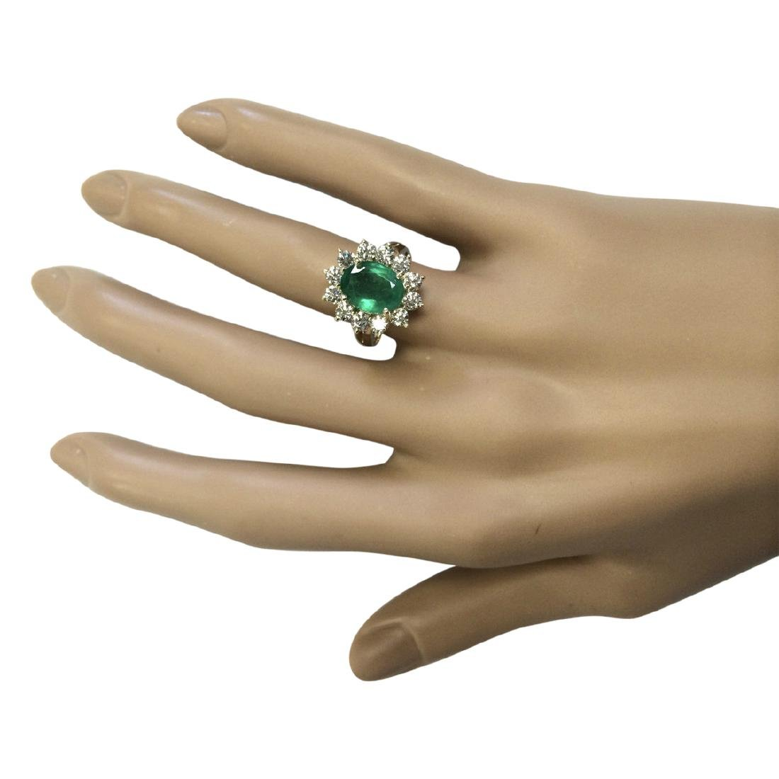 3.34 CTW Natural Emerald And Diamond Ring In 18K Yellow - 4