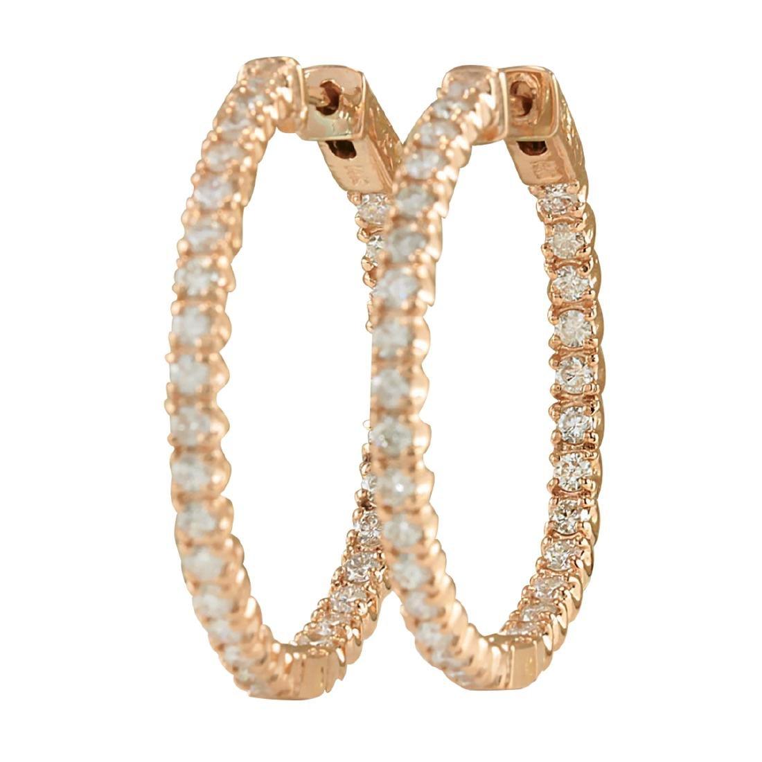2.10CTW Natural Diamond Hoop Earrings 18K Solid Rose