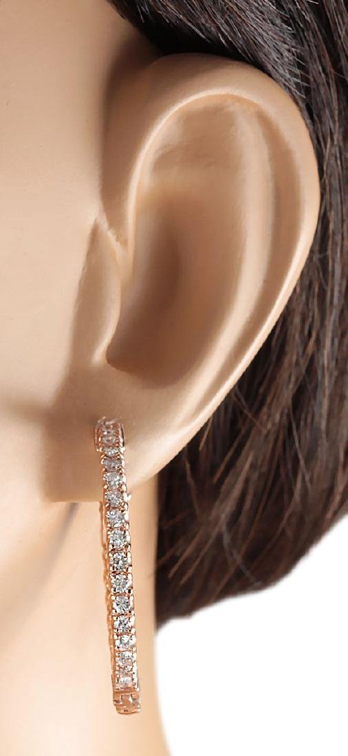 2.10CTW Natural Diamond Hoop Earrings 18K Solid Rose - 3
