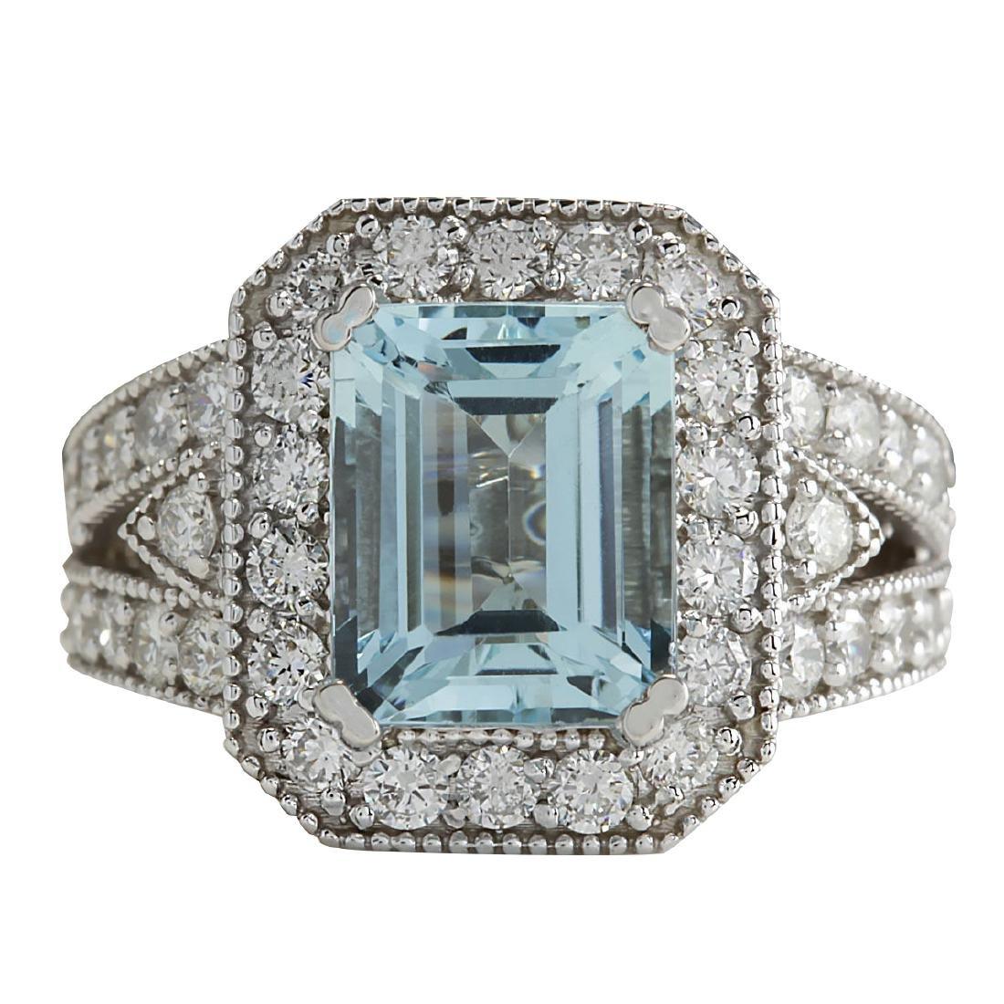 4.67CTW Natural Aquamarine And Diamond Ring In 18K