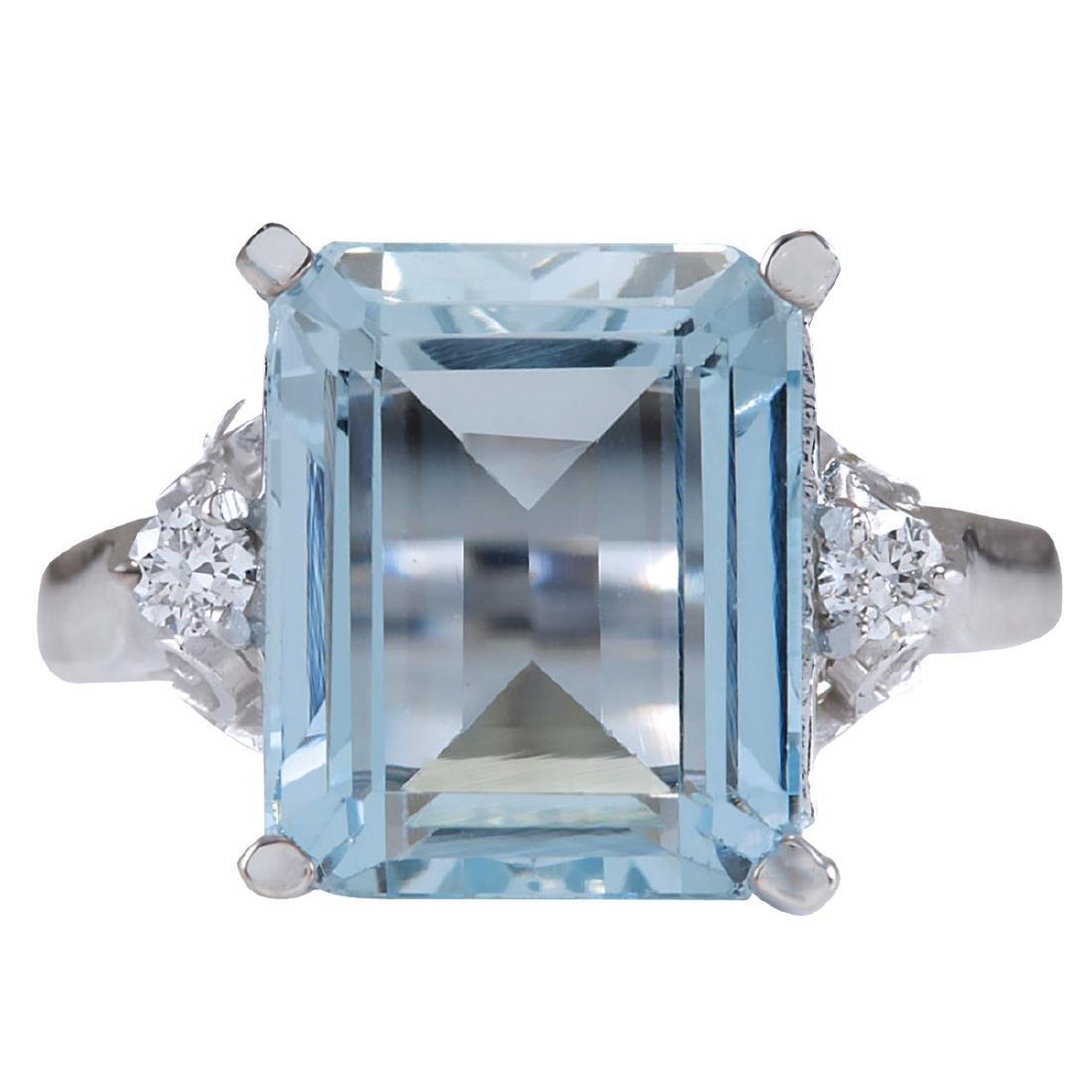 4.72CTW Natural Aquamarine And Diamond Ring In 18K