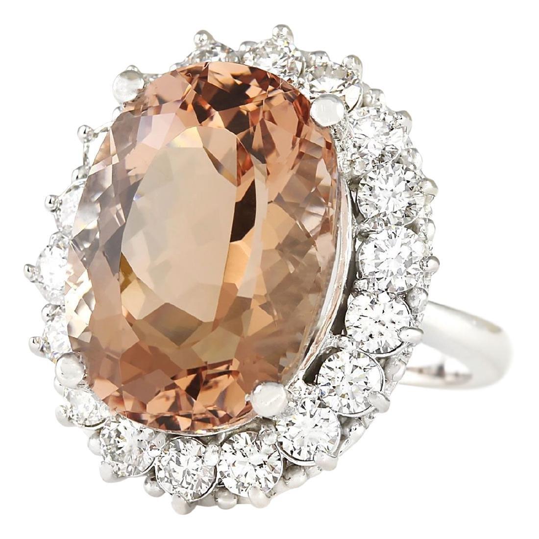 16.87 CTW Natural Morganite And Diamond Ring In 18K - 2