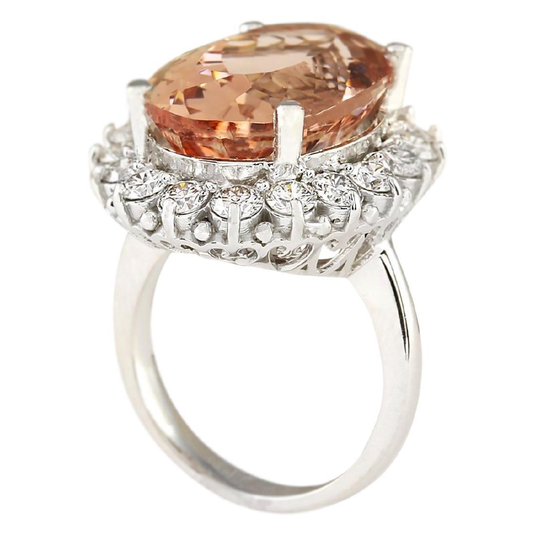 16.87 CTW Natural Morganite And Diamond Ring In 18K - 3