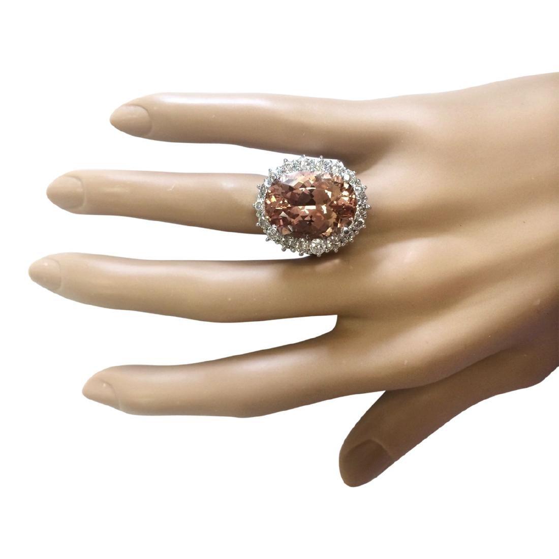 16.87 CTW Natural Morganite And Diamond Ring In 18K - 4