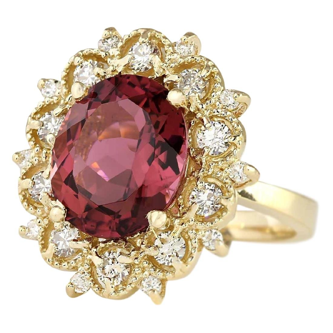 6.60 CTW Natural Pink Tourmaline And Diamond Ring In18K - 2