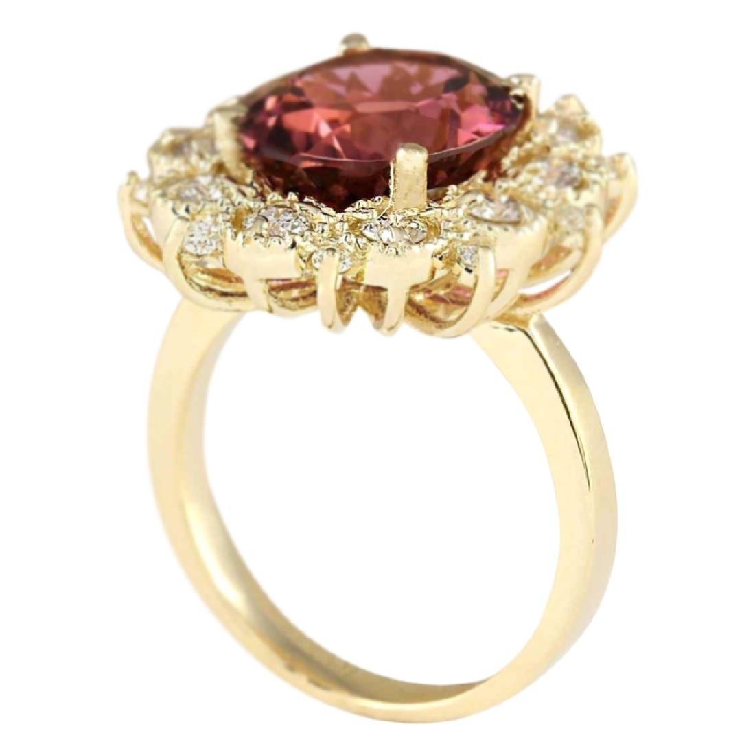 6.60 CTW Natural Pink Tourmaline And Diamond Ring In18K - 3