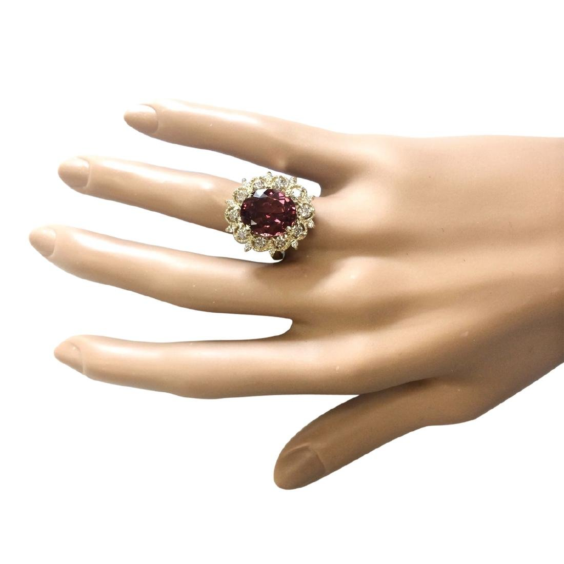6.60 CTW Natural Pink Tourmaline And Diamond Ring In18K - 4
