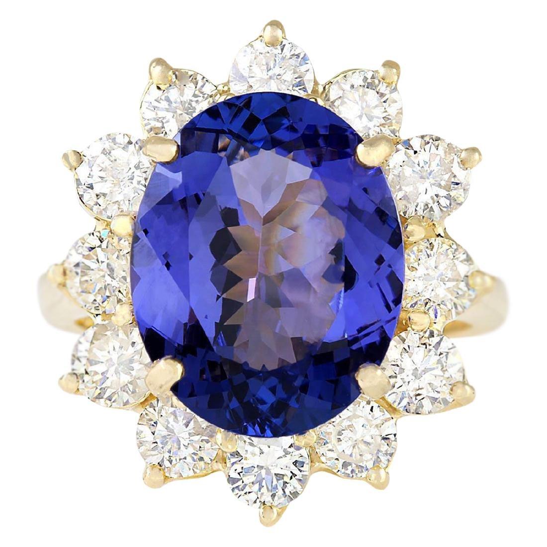 10.50 CTW Natural Blue Tanzanite And Diamond Ring 18K
