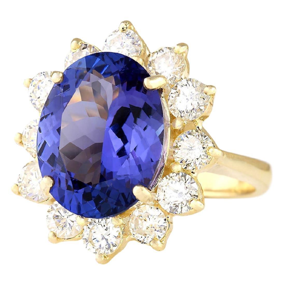 10.50 CTW Natural Blue Tanzanite And Diamond Ring 18K - 2