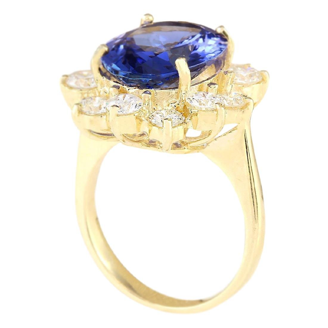 10.50 CTW Natural Blue Tanzanite And Diamond Ring 18K - 3