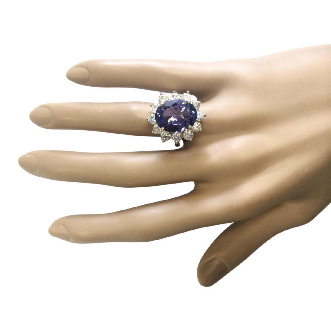 10.50 CTW Natural Blue Tanzanite And Diamond Ring 18K - 4