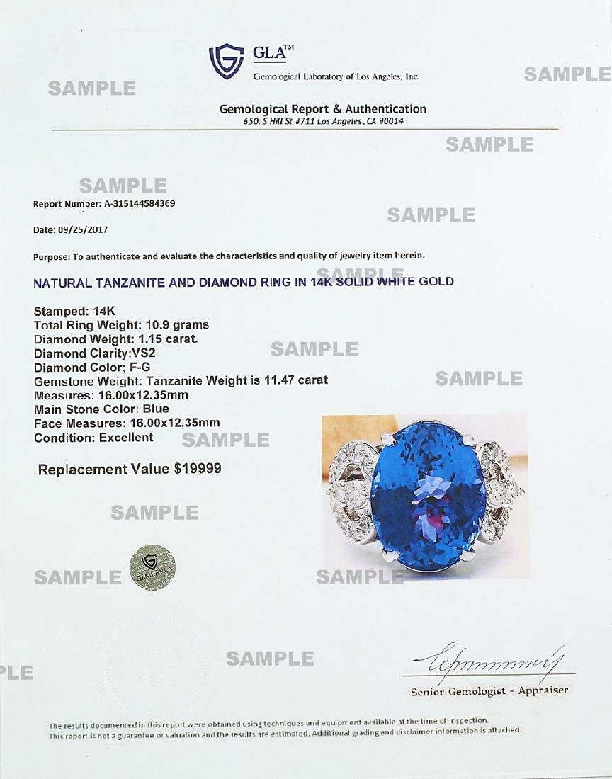 10.50 CTW Natural Blue Tanzanite And Diamond Ring 18K - 5