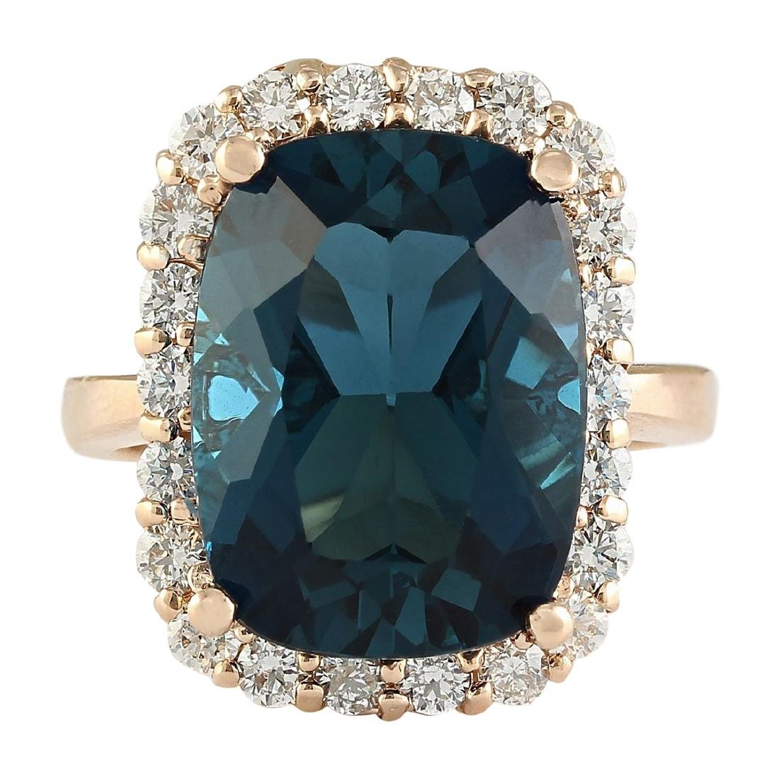 14.46 CTW Natural London Blue Topaz And Diamond Ring In