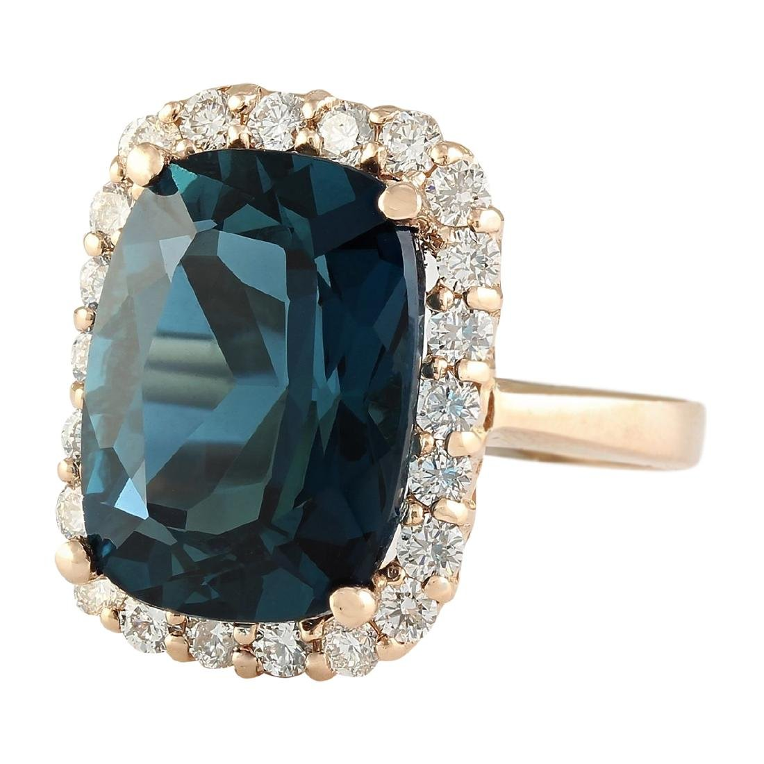14.46 CTW Natural London Blue Topaz And Diamond Ring In - 2