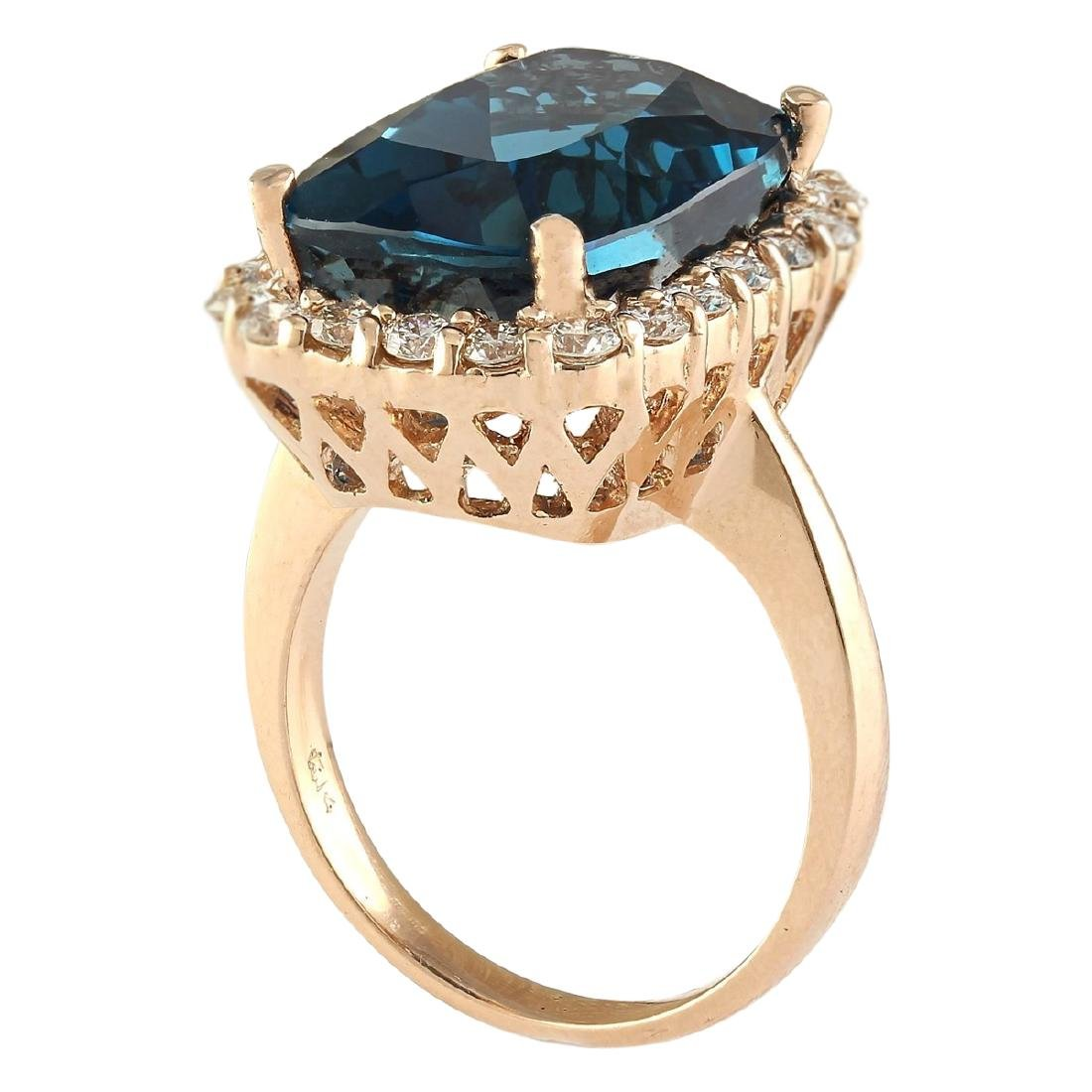 14.46 CTW Natural London Blue Topaz And Diamond Ring In - 3