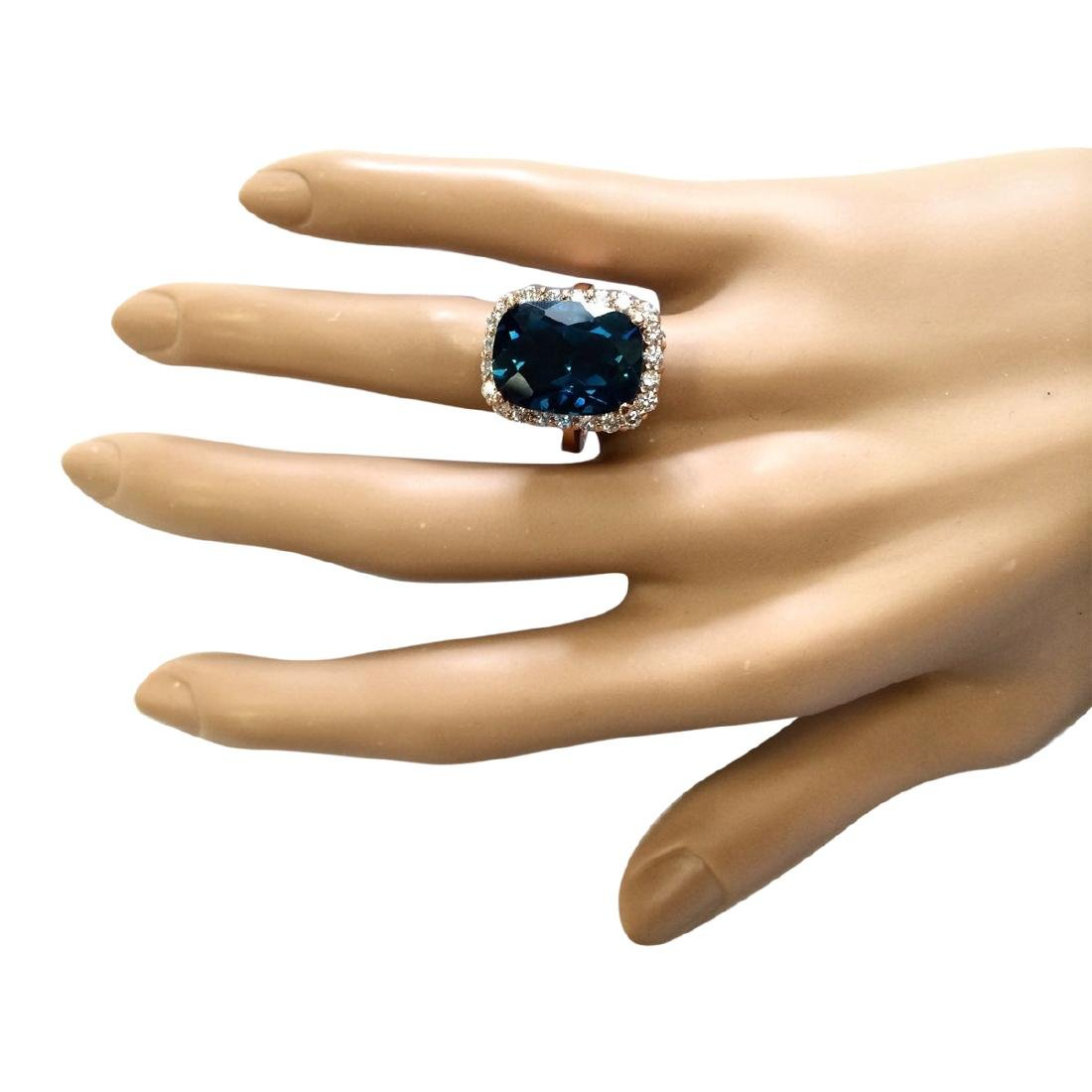 14.46 CTW Natural London Blue Topaz And Diamond Ring In - 4