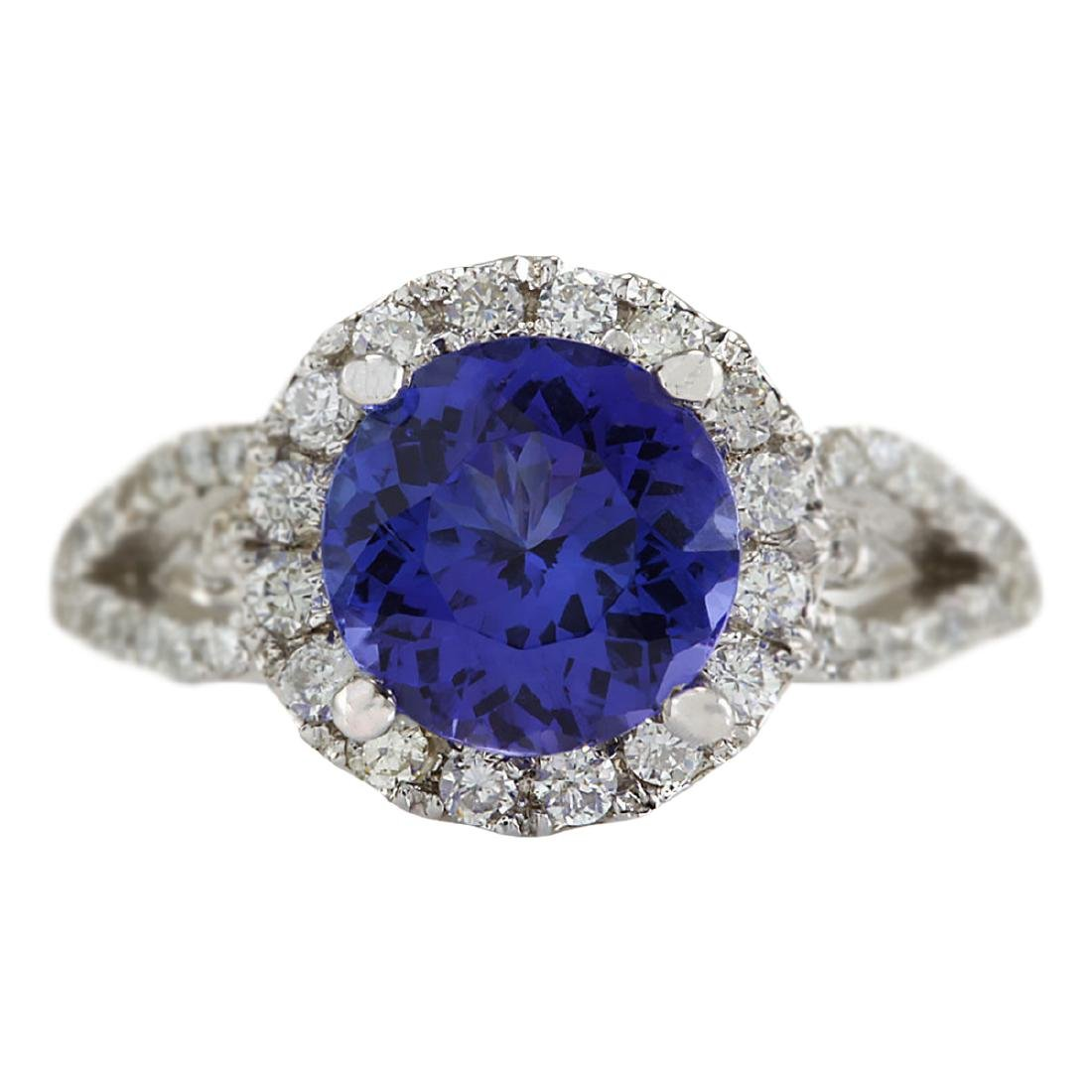 3.49 CTW Natural Blue Tanzanite And Diamond Ring In18K
