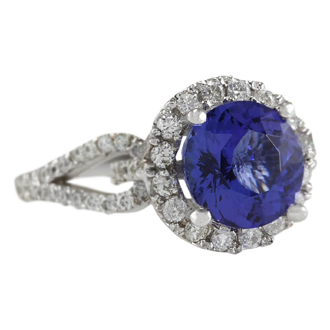 3.49 CTW Natural Blue Tanzanite And Diamond Ring In18K - 2