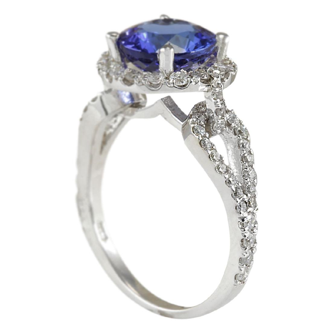 3.49 CTW Natural Blue Tanzanite And Diamond Ring In18K - 3
