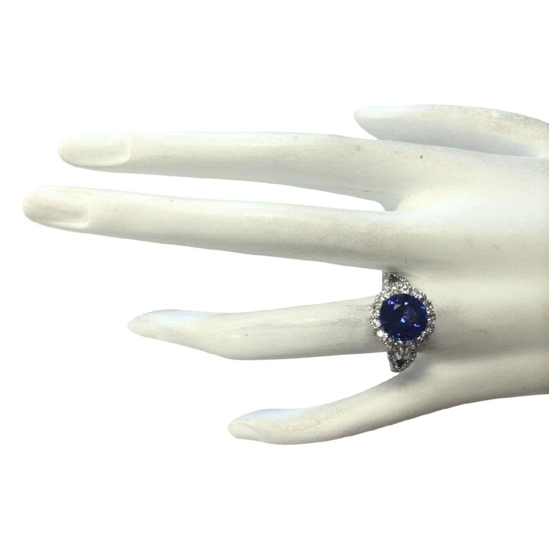 3.49 CTW Natural Blue Tanzanite And Diamond Ring In18K - 4