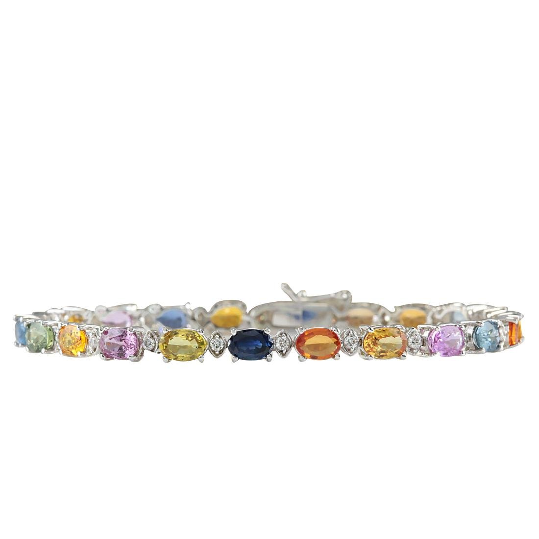 13.35CTW Natural Sapphire And Diamond Bracelet In 18K
