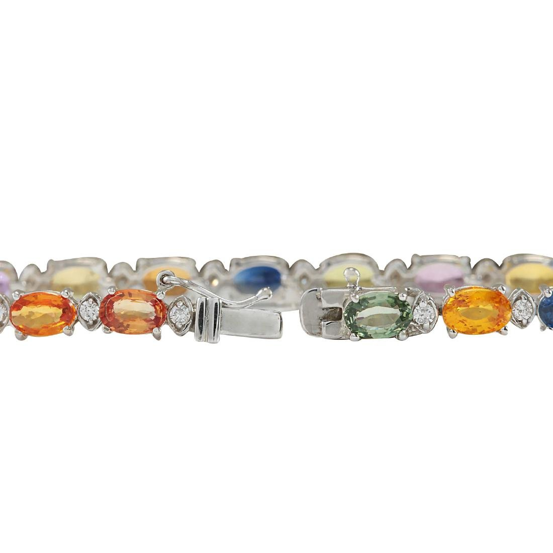 13.35CTW Natural Sapphire And Diamond Bracelet In 18K - 3