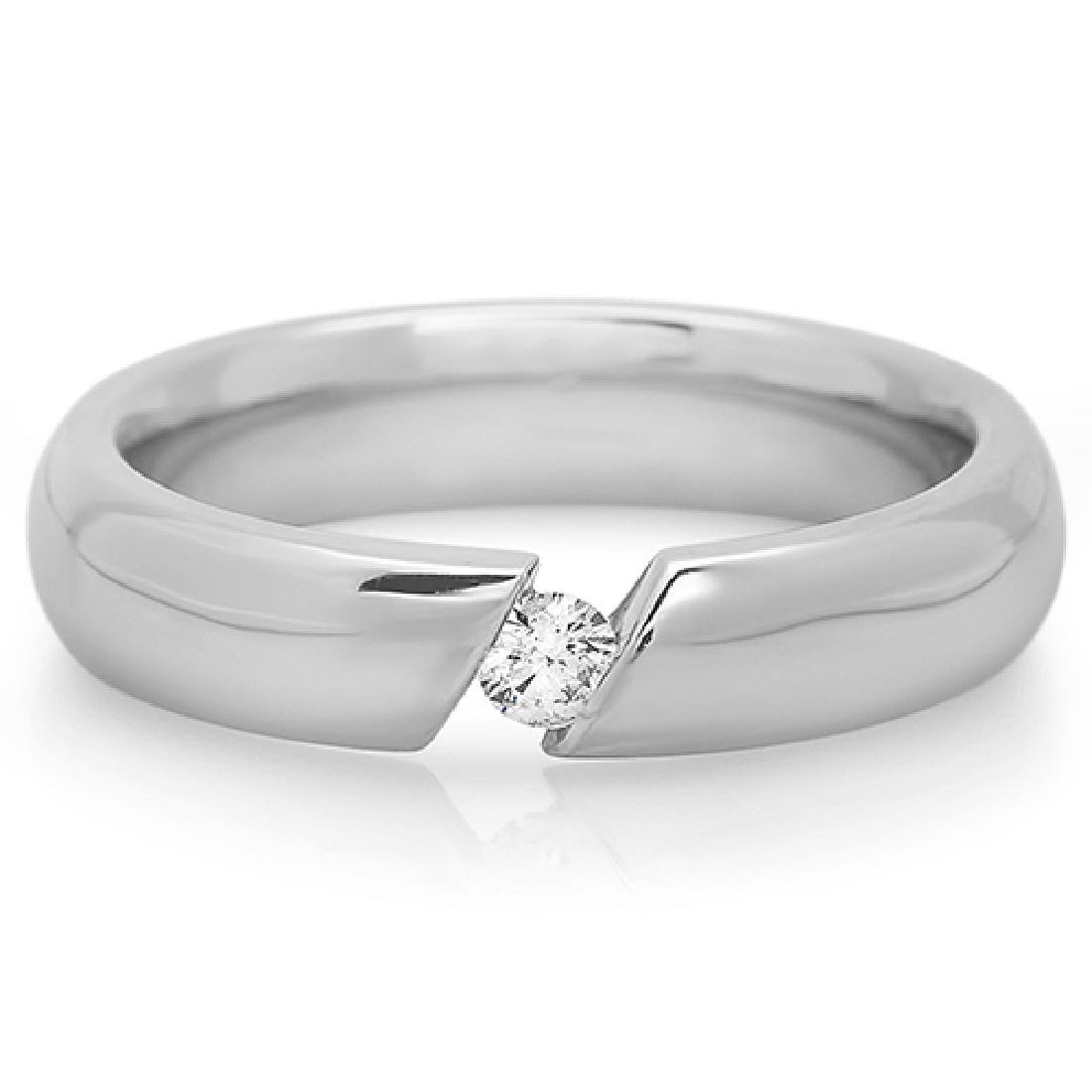 Mens 0.40 Carat Natural Diamond 18K Solid White Gold