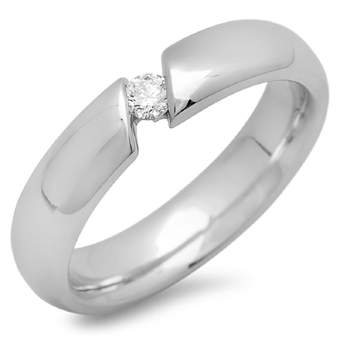 Mens 0.40 Carat Natural Diamond 18K Solid White Gold - 2
