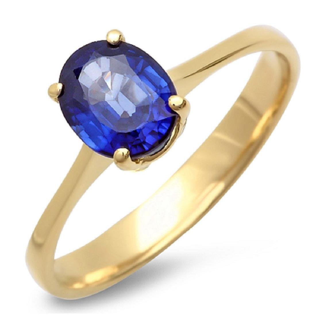 1.20 Carat Natural Sapphire 18K Solid Yellow Gold Ring
