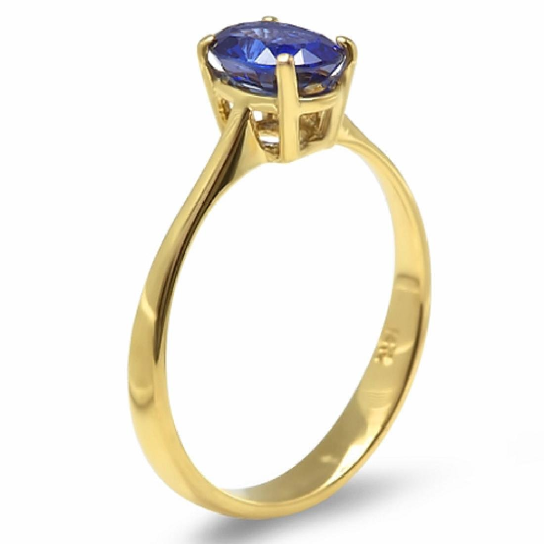 1.20 Carat Natural Sapphire 18K Solid Yellow Gold Ring - 2